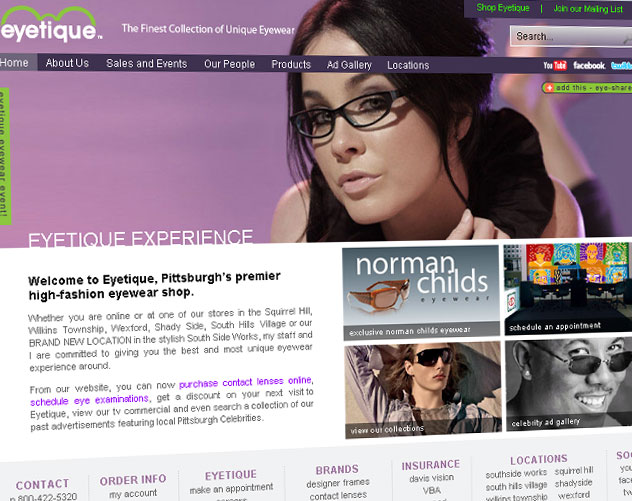 eyetique web design and web mail by ocreations in pittsburgh