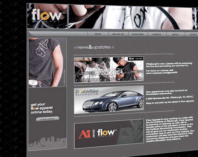 flow apparel web design and web mail by ocreations in pittsburgh