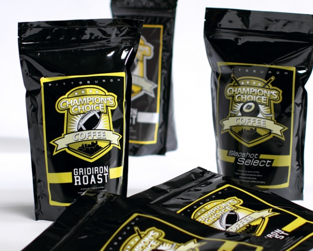 champ choice coffee package design by ocreations in Pittsburgh