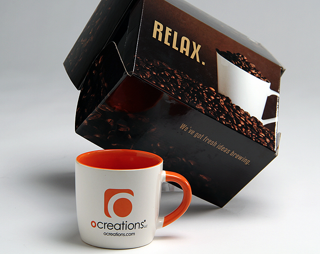 ocreations coffee mug design and package design
