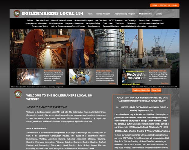 boilermakers local 154 website design