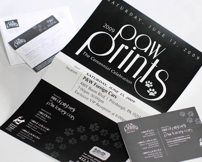 pawprints business card and promotional mailer package by ocreations in pittsburgh