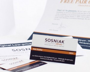 sosniak business card, letterhead, and brochure print design by ocreations in pittsburgh