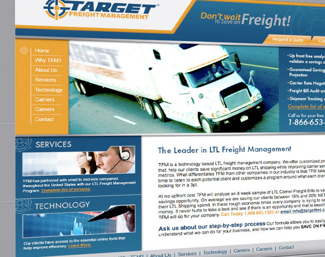 target freight management web design and web mail by ocreations in pittsburgh
