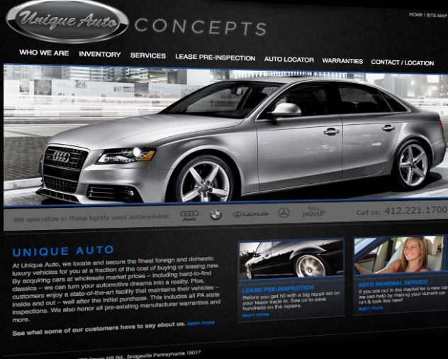 unique auto concepts website by ocreations in pittsburgh
