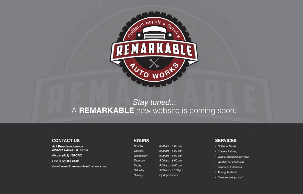 Remarkable Auto Works Landing Page (now a live, full site!)
