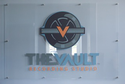 Pittsburgh-environmental-design-TheVault--indoor-sign-with-name-and-logo