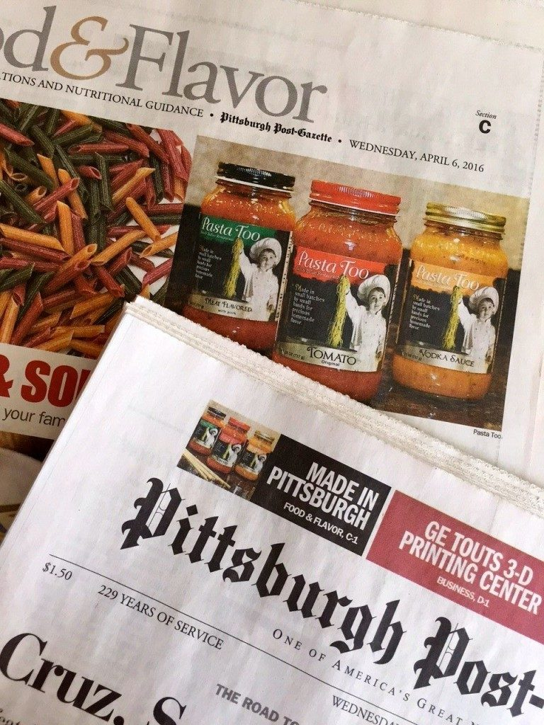 ocreations-news-coverage-Post-Gazette-Pasta-Too-cover-and-feature
