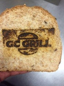 The GC Grill logo burned into bread!
