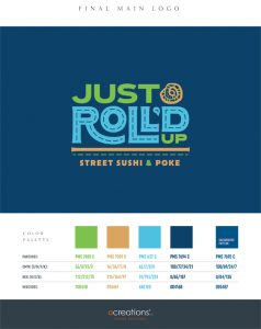 Just Roll'd Up Brand Style Guide Sheet - page 1