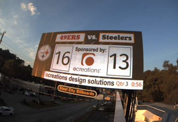 ocreations digital sponsor billboard Steel City Billboards