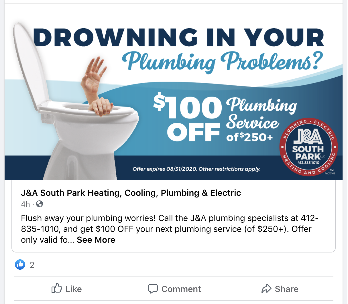 JA South Park 100 off plumbing social