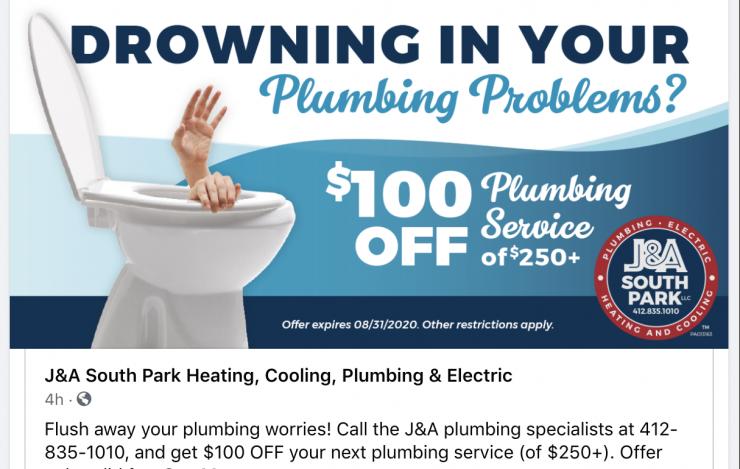 JA South Park 100 off plumbing social